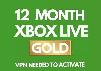 12 MONTHS XBOX LIVE GOLD MEMBERSHIP FOR XBOX 360 / XBOX ONE VPN Activation