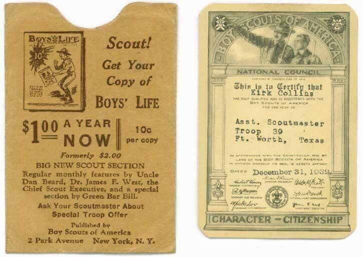 BSA membership card 1932 1933 Ft. Worth Texas + sleeve
