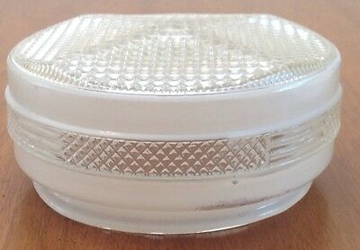 Vtg Art Deco Geometric White Clear Patterned Glass Ceiling Mount Globe Shade