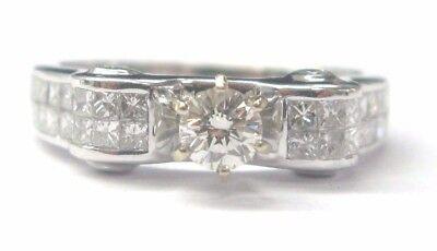 18Kt Round & Princess Cut Invisible Set Diamond White Gold Ring 1.09CT