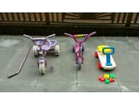 Kids Trike with Tipper, Scooter and Fisher Price Sit on Trolley with Blocks £8.50