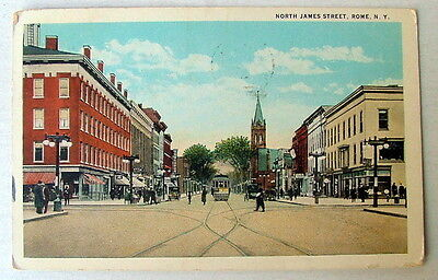 ELECTRIC TRAIN TROLLEY ON NORTH JAMES STREET ROME NEW YORK 1946 POSTCARD #0118h