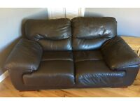 Chocolate brown 2&3 seater leather sofa with matching storage cube