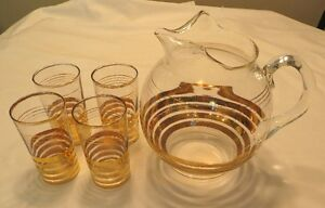 Collectible Clear & Gold Band Glass Ball Pitcher & 4 Highball Gatineau Ottawa / Gatineau Area image 2