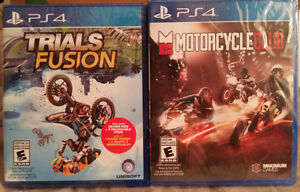 PS4 Trials Fusion & Motorcycle Club Both Factory Sealed Cambridge Kitchener Area image 1