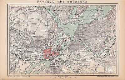 POTSDAM Sacrow Babelsberg Stolpe Pfaueninsel KARTE von 1894 Bornim Nedlitz