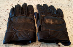 Milwaukee Men's Perforated Black Motorcycle Leather Gloves