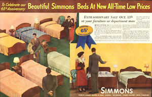 1936 2-page (21 x 13 ¾ ) color magazine ad for Simmons Beds