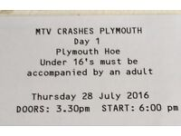 Mtv crashes Plymouth day one ticket