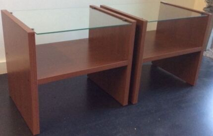 2 x glass top bedside table , delivery available