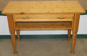 Solid Knotty Pine Console Table with Drawer and Removable Table
