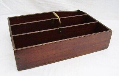 early 19thC antique mahogany cutlery tray candle box tray