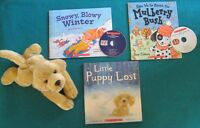 3 Primary Reading books with CDS and plush lab puppy