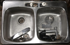 Stainless steel double kitchen sink + plumbing stuff