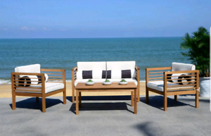 Modern Teak Wood Lounge Patio Sofa Set