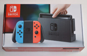 Nintendo Switch console with Neon Red and Blue Joy-Con