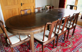 Hardwood Dining Table 8 Chairs