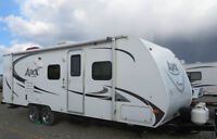 """26' 7"""" Light Wt Holiday Trailer pulled by Tacoma sleeps 6"""