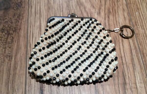 Vintage Beaded Change Coin Purse with KeyChain