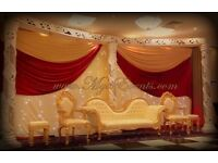 Wedding Head Table Decoration £199 Stage Sofa hire £199 Fairylight Backdrop rental White orBlack£199