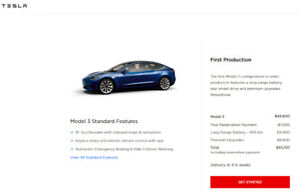 Tesla Model 3 Reservation - Delivery in 4-8 weeks!!