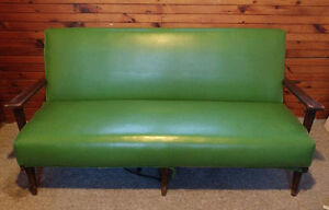 Vintage green vinyl couch with solid wood frame