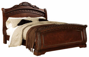 Elegant Bed frame Queen Size+Night Stand+Dresser with Mirror