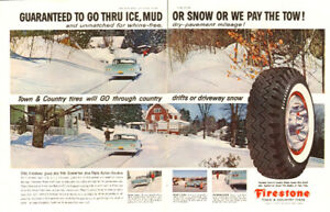 1959 2-page (20 ½ x 14) magazine ad for Firestone Tires