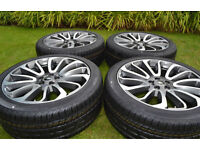 "BRAND NEW 22"" GENUINE RANGE ROVER STYLE 7 ALLOY WHEELS & NEW CONTINENTAL TYRES"