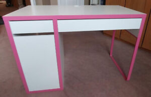 White with Pink accents Micke Desk w/ Custom Keyboard Tray