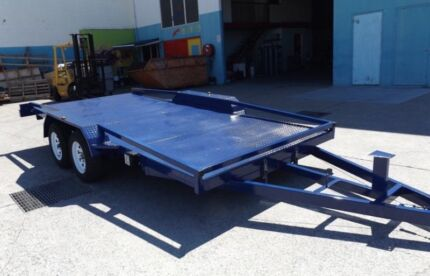 """""""NEW"""" TILTING 15FT 2900KG CAR TRAILERS WITH RAILINGS & RAMPS"""