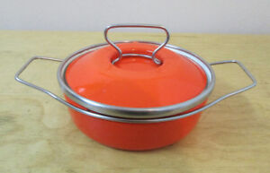 1970's MCM Small Orange Metal Cooking Pot – Great Condition