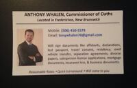 Commissioner of Oaths Fredericton New Brunswick NB