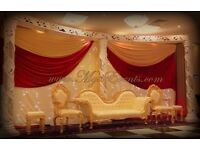 Wedding Stage Decor Rental £299 Gold sofa hire £199 Head Table decor £199 starlight backdrop hire