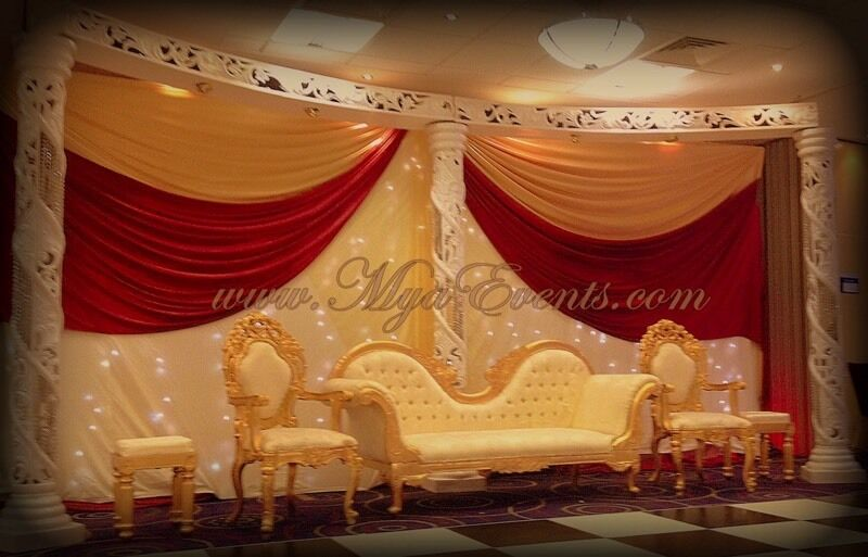 Asian wedding sofa hire london for Asian wedding stage decoration london