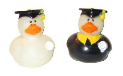 rubber ducks vintage set of 2 white graduation cap and gown 1 3/4
