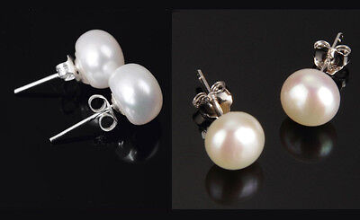 7-8 mm Sterling Silver Freshwater White Pink Pearl Stud Earrings Gift Box PE - Freshwater Silver Jewelry Box