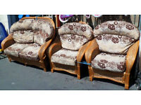 GOOD COMFY CONDITION, A NICE CANE 2 SEATER + 2 ARMCHAIRS CONSERVATORY SET