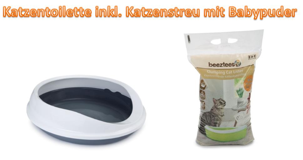 Katzentoilette Katzenklo Filter inkl. Katzenstreu mit Babypuder 46x55cm *NEU*
