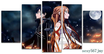 Large Anime   Sword Art Online Kirito +Yuuki Framed   canvas decoration 5 pieces