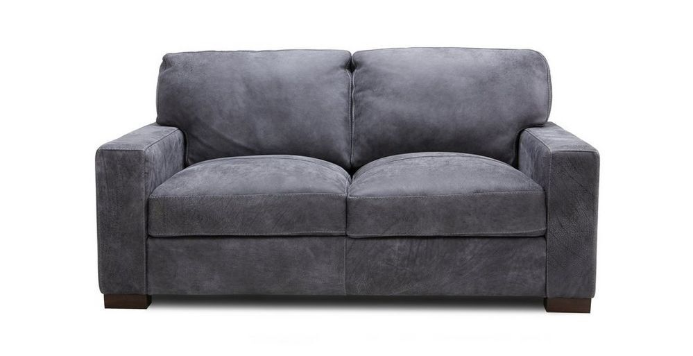 Brand New Dfs Grey Leather 2 Seat Sofa Cassano Still