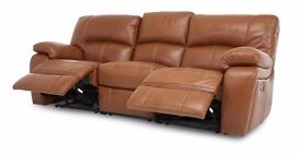 Elegant 3 Seater Reclining Sofa +1+1 Electric Reclining Armchairs in Brown Leather , Used £320