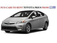 PCO Cars to rent from £100 Toyota Prius Uber, Taxi, Cab ready