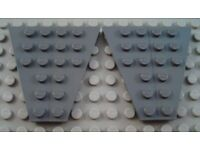 LEGO Lot of 2 Pair of Dark Bluish Gray 6x3 Airplane Space Wedge Plate Pieces
