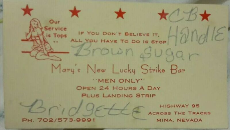Signed Vintage Business Card of Stripper at Lucky Strike Bar Mina Nevada Hwy 95