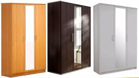 **7-DAY MONEY BACK GUARANTEE!** Solid 3 Door Holgate Wardrobe with Mirror - SAME DAY DELIVERY!
