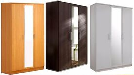 **100% PRICE MATCH!**BRAND NEW Holgate 3 Door Mirrored Wardrobe With Drawer-Same/Next Day Delivery