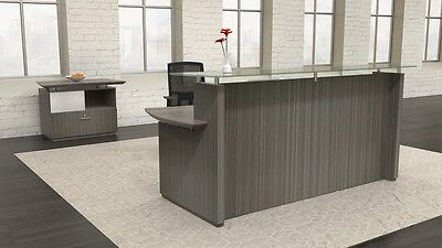 Mayline Sterling Glass Accented Reception Desk With Storage Cabinet