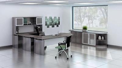 Mayline Medina Series Large Gray Steel Laminate Furniture Set For Exec Office