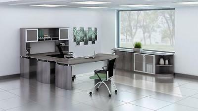 Mayline Medina Gray Steel U Shaped Executive Furniture Set Mnt29lgs